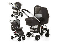 EXDISPLAY HAUCK MIAMI 4 FULL TRAVEL SYSTEM PRAM PUSHCHAIR UNISEX BLACK /SILVER CAR SEAT CARRYCOT.