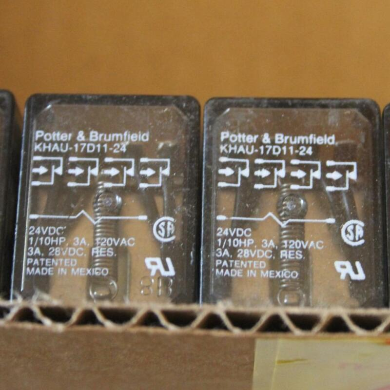 One Lot of 2 / Potter Brumfield KHAU-17D11-24 Power Relay KHA Series 4PDT, 24VDC