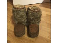 River Island Suede Faux Fur Moccasin Boots
