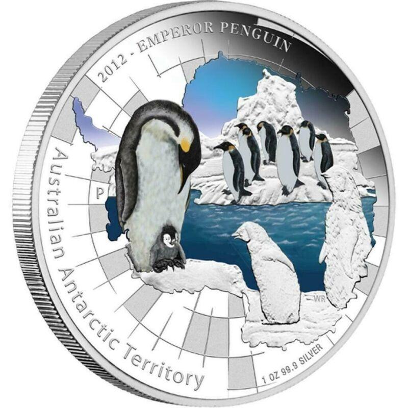 Australia 2012 $1 Antarctic Territory - Emperor Penguin 1 Oz Silver Proof Coin