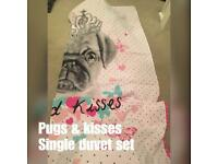 Pug single duvet cover and pillows
