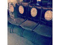 Set of 4 vintage cast iron garden chairs