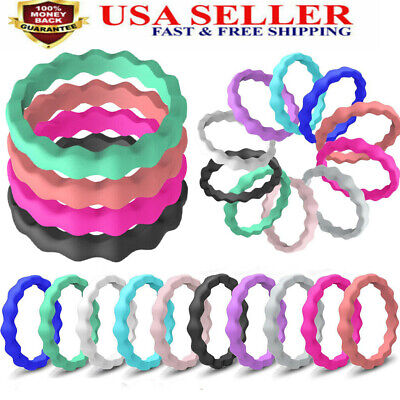 10 Pack Women Silicone Ring Rubber Wedding Band Stackable Twist Size 5,6,7,8,9