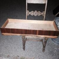 Antique chair Drywall antique drawer & shelves