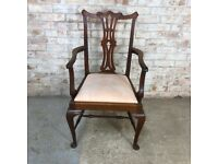 Vintage Antique Wooden Carver Chair with Ornate Back