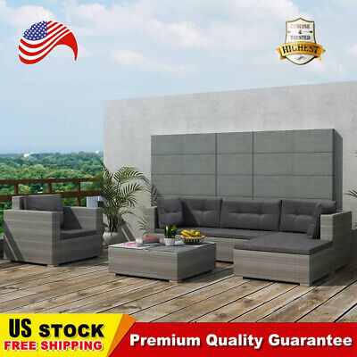 Garden Furniture - 17 pcs Outdoor Patio Furniture Set Rattan Poly Patio Sectional Patio Sofa Gray