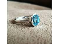 Swarovski Aquamarine Crystal Sterling Silver Ring - Size N/7
