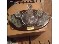 Ships Crystal decanter with stand and glasses
