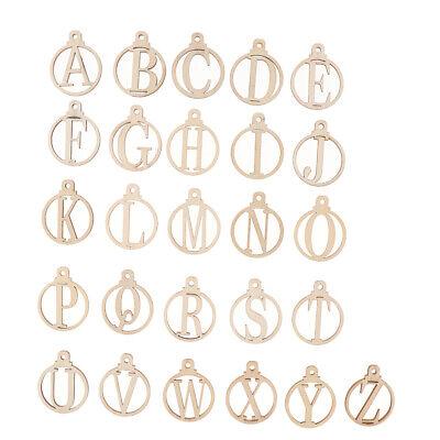 26Pcs Wooden Letters Hanging Necklace Pendant Home Party Wedding Ornaments](Popsicle Stick Ornaments)