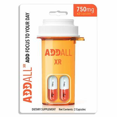 Addall XR 750mg 2ct Capsules Focus Concentration Energy(2 Pills) Supplement