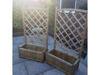 2 garden trellis planters