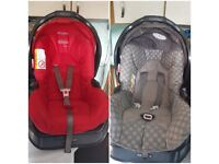 Two graco junior car seats group 0+ and bases.