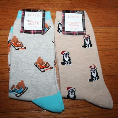 TWO (2) NWT J. Crew Womens Trouser Socks Siberian Husky Huskies & Sled Dogs *4G