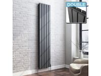 New Radiator PAID250 1800x376mm Double 3996BTU Anthracite Flat Panel Vertical