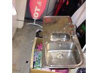 Kitchen sink bowl and half unit