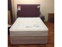 LUXURY DOUBLE BED WITH POCKET SPRUNG MATTRESS AND END DRAWER