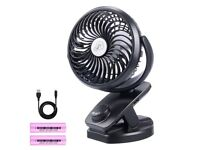 NEW USB Desk Fan Mini Portable Rechargeable Battery Operated 360° Rotation