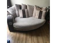 Corner sofa and cuddle music chair