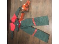 Husqvarna Chainsaw and Suit