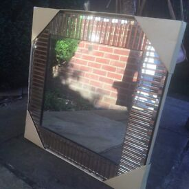 """Square Copper & Gold Mosaic Mirror from The Pier 20"""" x 20"""""""