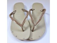 Sand Customised Havaianas w Hand-Stitched Rhinestones and Crystals - UK Size 3-7