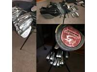 Full set of golf clubs, bag, Taylor Made driver, Mizuno irons, putter