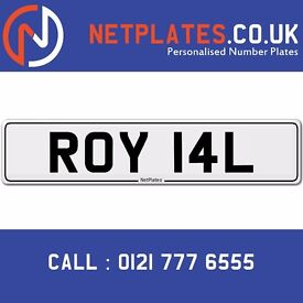 ROY 14L Registration Number Private Plate Cherished Car Personalised Royal Queen King Princess princ
