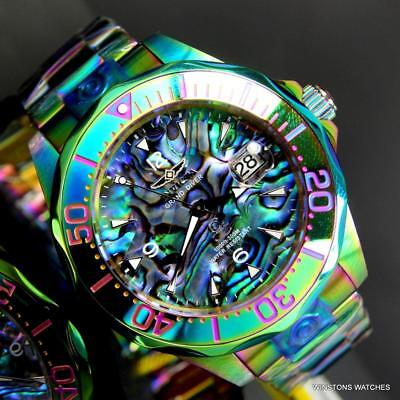 Invicta Grand Diver Iridescent Green Blue Abalone NH35A Automatic 47mm Watch New