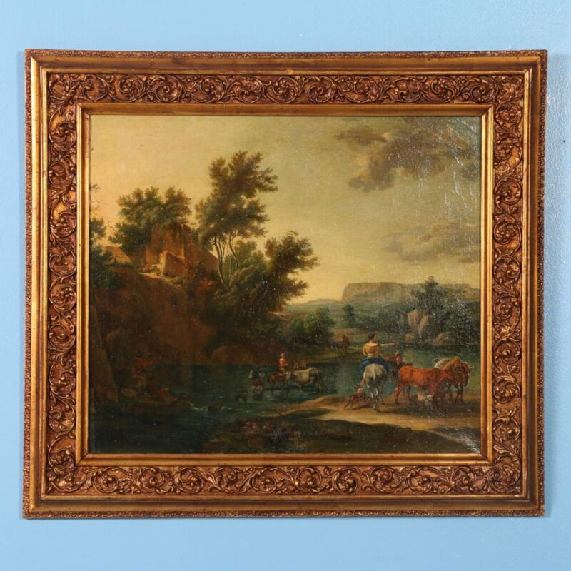 Original Oil On Canvas Painting, Signed Flemish Landscape Of River Crossing With