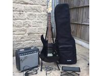 Yamaha Electric Guitar With Fender Amp, Bag And Foot Rest