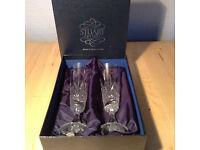 2 Stuart Crystal Champagne Flutes for sale