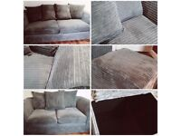 Grey Fabric Jumbo Cord Sofa Settee Couch 3+2 Seater with Large Storage box/pouffee