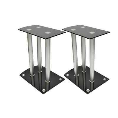 Aluminum Speaker Stands 2 pcs Black Safety Glass High Quality✓
