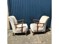 Pair of vintage cocktail chairs or armchairs