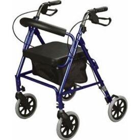 USED ONCE A FOLD AWAY ROLLATOR ELDERLY WALKING AID WITH FOLDING SEAT & BASKET FOLDING LIGHTWEIGHT