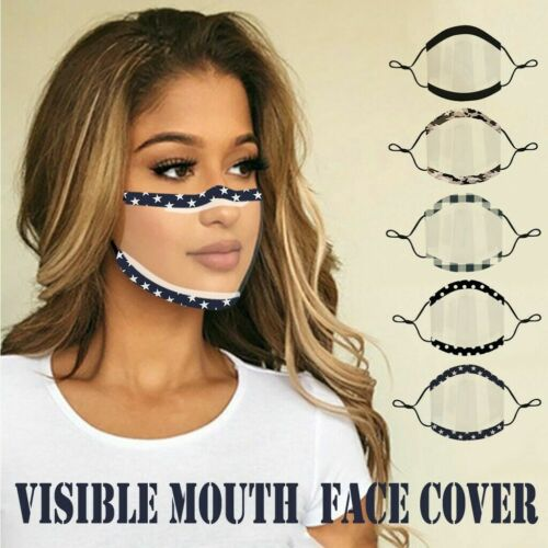 Reusable Face Mask Cover With Visible Transparent Clear Window For Lip Reading