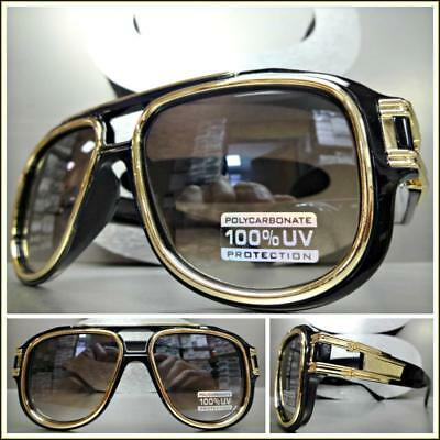 OVERSIZED RETRO HIP HOP Style SUNGLASSES Large Black & Gold Frame For Big (Black Sunglasses Gold Frame)