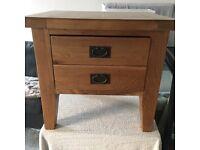Two solid oak bedside tables