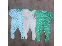 Baby boys 0-3 months sleepsuit babygrow bundle set