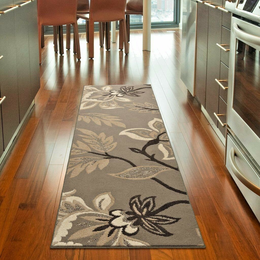 Details about RUNNER RUGS CARPET RUNNERS AREA RUG RUNNERS MODERN GRAY  FLORAL GREY KITCHEN RUGS
