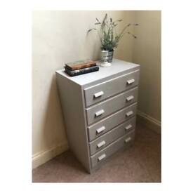 Grey shabby chc Chest Of Drawers (Delivery Available)