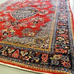 Mahal Semi-Antique Persian Rug , Handmade Carpet, Wool, Red, Beige, Navy Blue, Yellow, Blue, Green and Orange