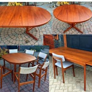 Danish MCM Teak Walnut Rosewood REFINISHED and Live Edge Tables, from $499, Chairs REUPHOLSTERED, sets of 4 and 6