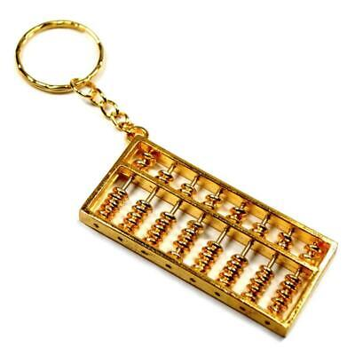 "ABACUS KEYCHAIN 2.25"" Metal w Moving Beads Key Ring Gold Tone Chinese Feng Shui"