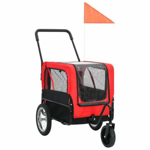 vidaXL 2-in-1 Pet Bike Trailer & Jogging Stroller Flag Dog Stroller Red