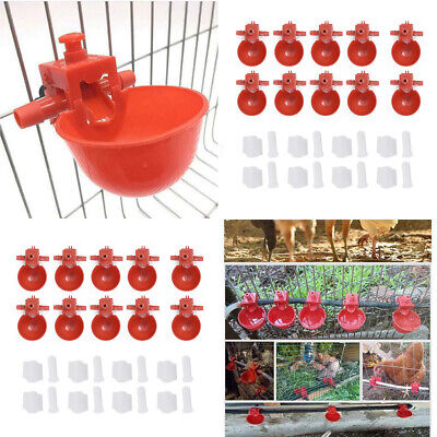 20pcs Chicken Drinking Cups Plastic Automatic Feeder Quail Water Bowls Supplies