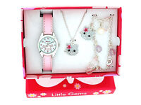 Ravel Little Gems Kitty Watch Bracelet & Necklace Gift Set