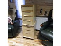 small chest drawers. small filing cabinet - both wood + metal tra for paper etc