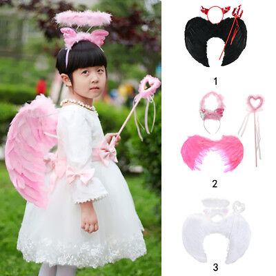 3 Pieces Girls Devil Angel Costume Feather Wing - Halo 3 Accessoires