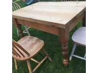 Hand made solid wood farmhouse style dinning table has been well used but still in good condition